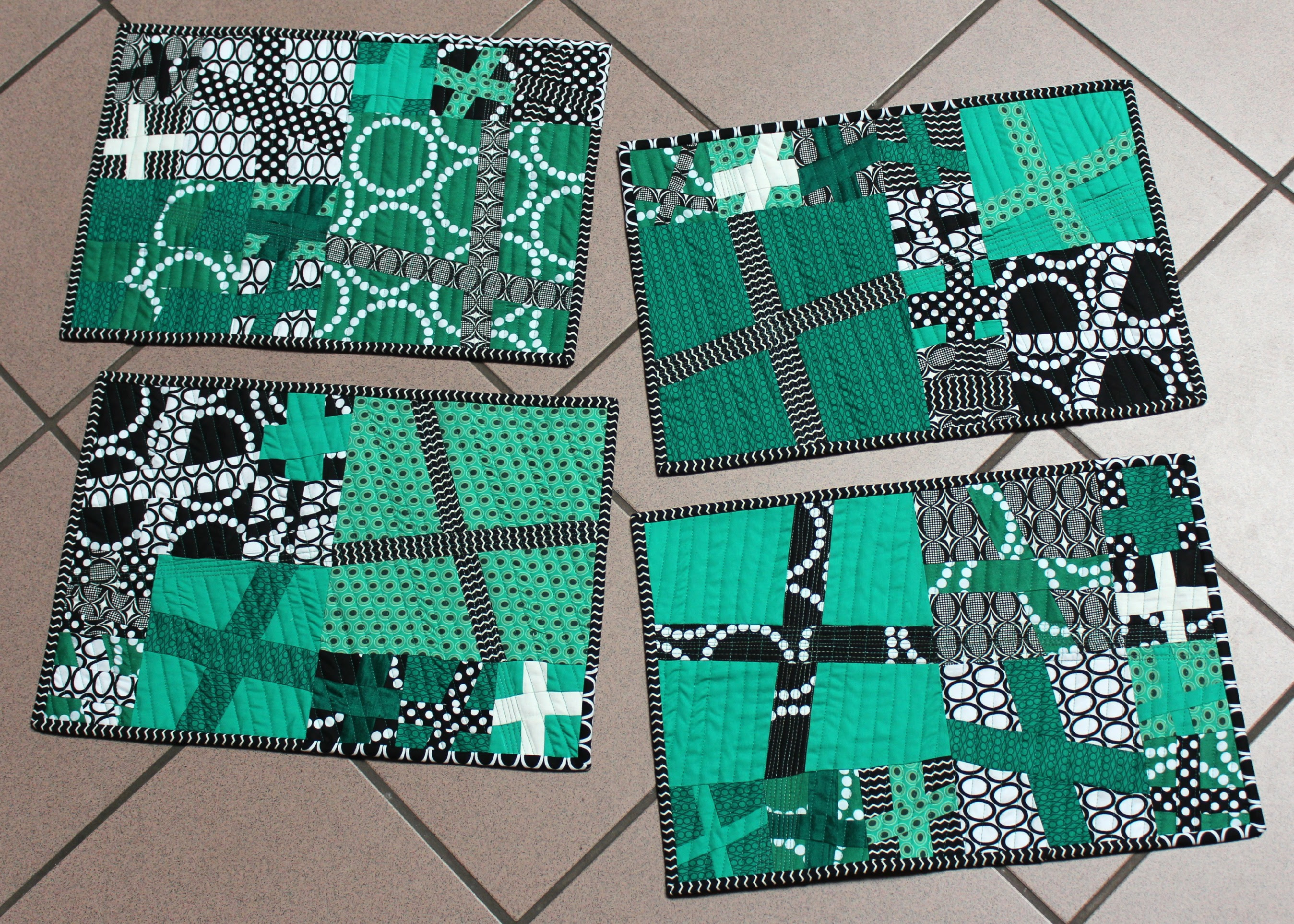 Emerald, black, & white placemats