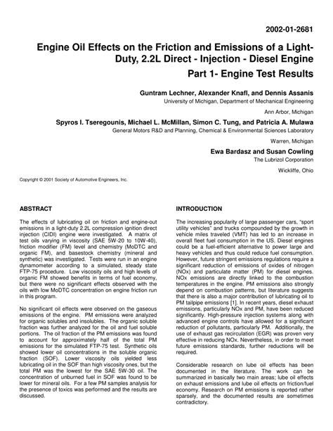 (PDF) Engine Oil Effects on the Friction and Emissions of