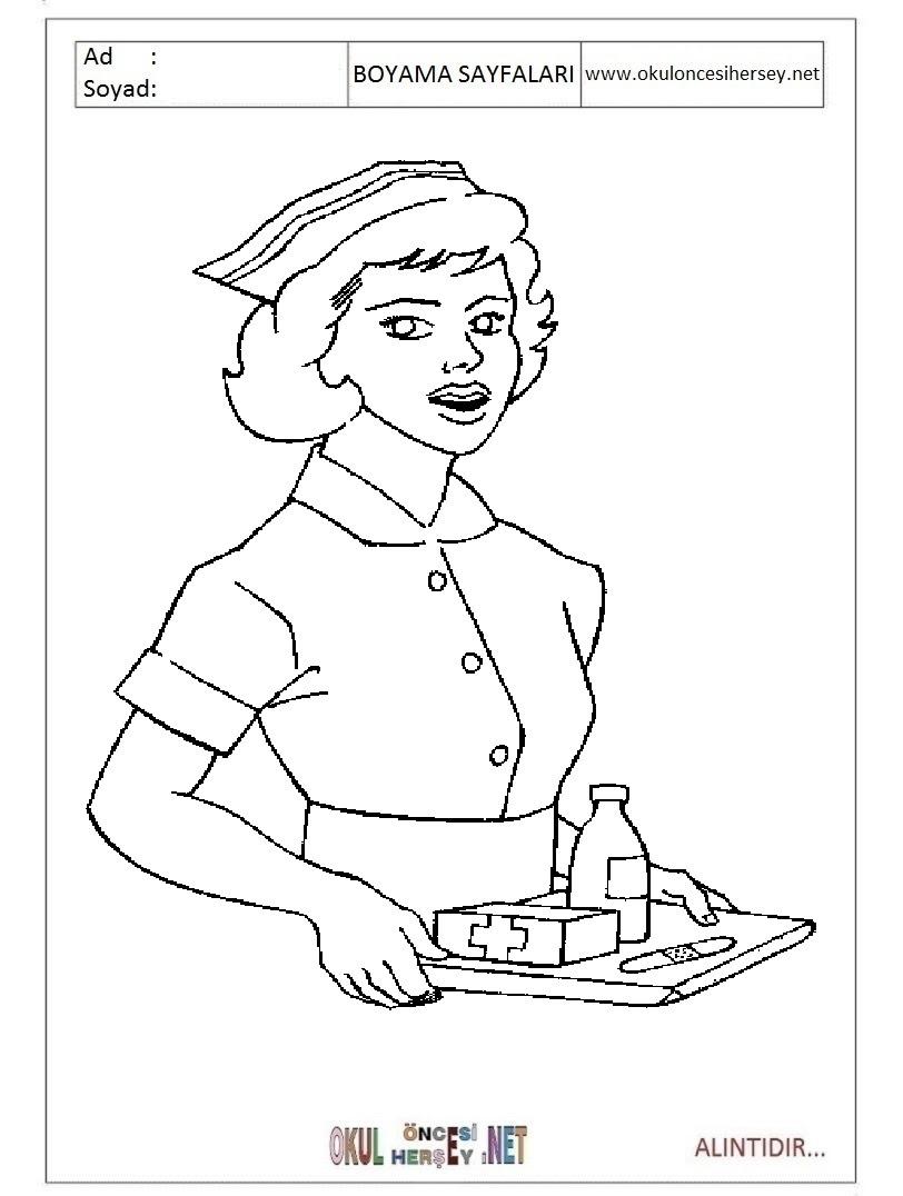 Hemşire Boyama Sayfaları