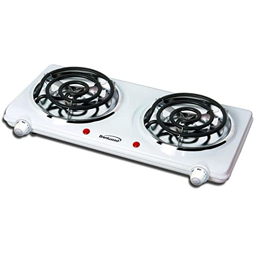 Brentwood Appliances TS-360 Electric Double Burner, 1500-Watt, White