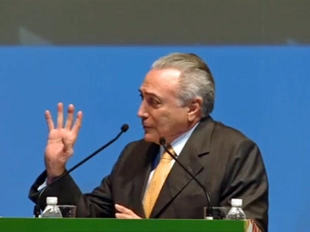 Michel Temer em evento em São Paulo (Foto: Reprodução/TV Globo)