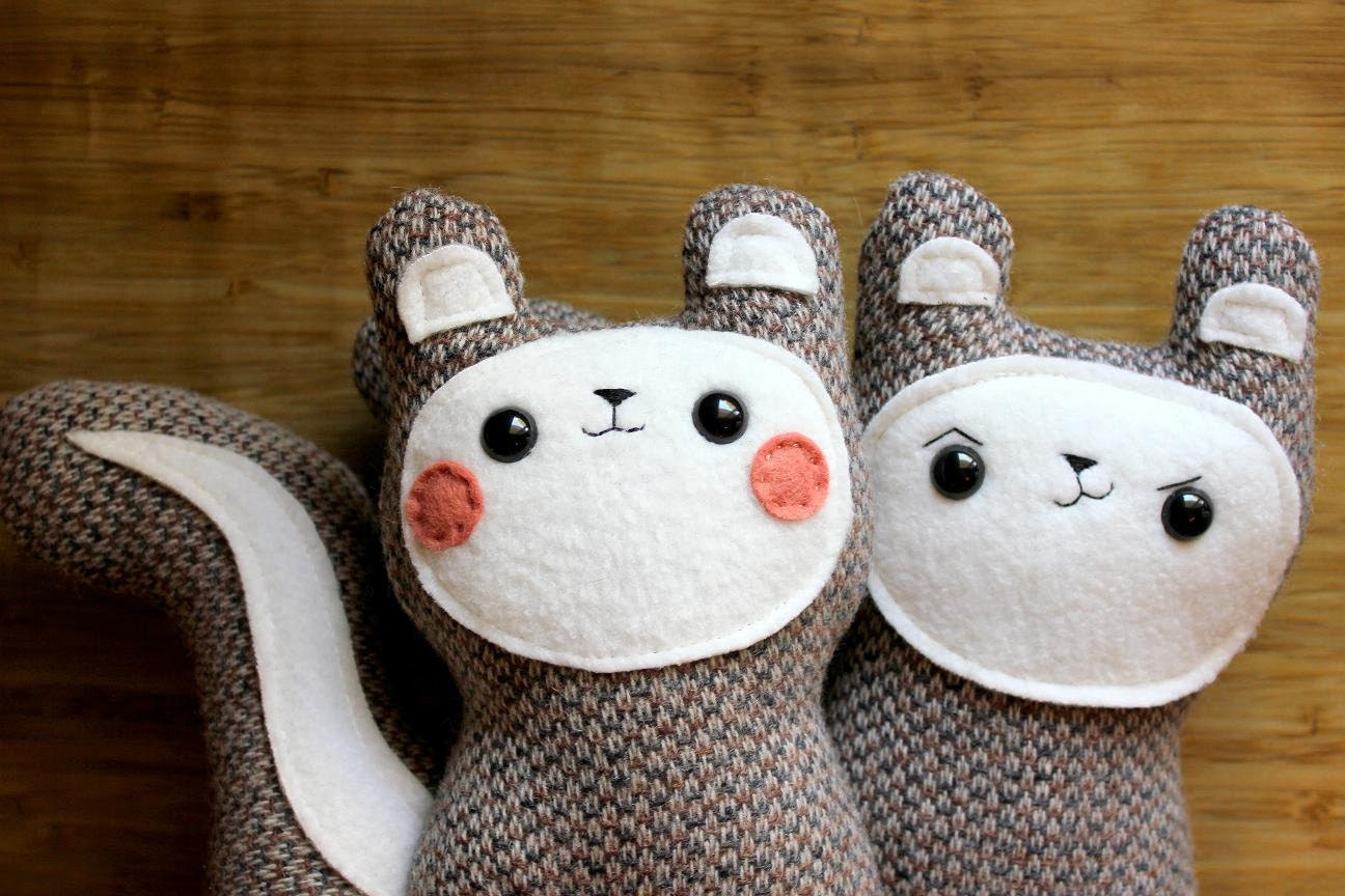 handmade plush squirrels, Bon Bon and Belchick pair - Made to Order