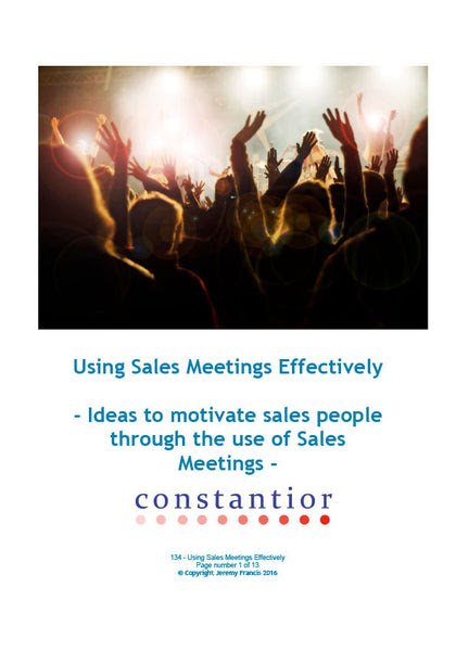 Using Sales Meetings Effectively – Constantior Resources
