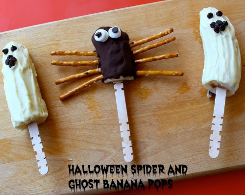 Healthier Halloween Treats- Spider and Ghost Banana Pops - Family Focus Blog