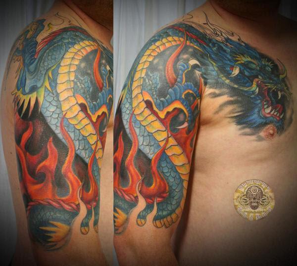 Asia dragon tattoo - chest tattoo