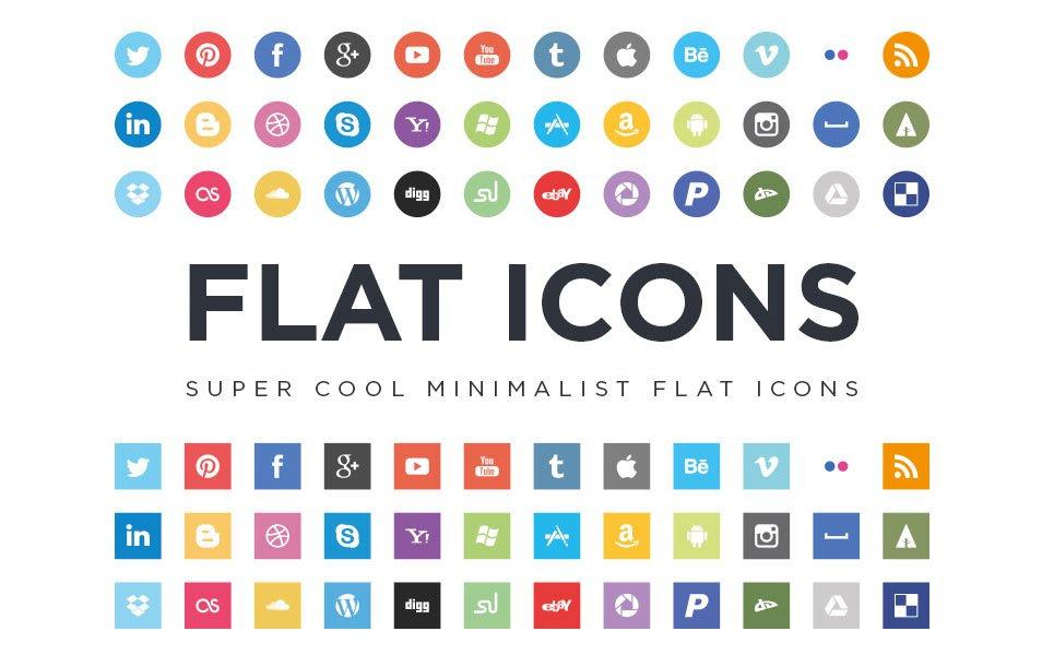 Flat Social Media Icons EPS