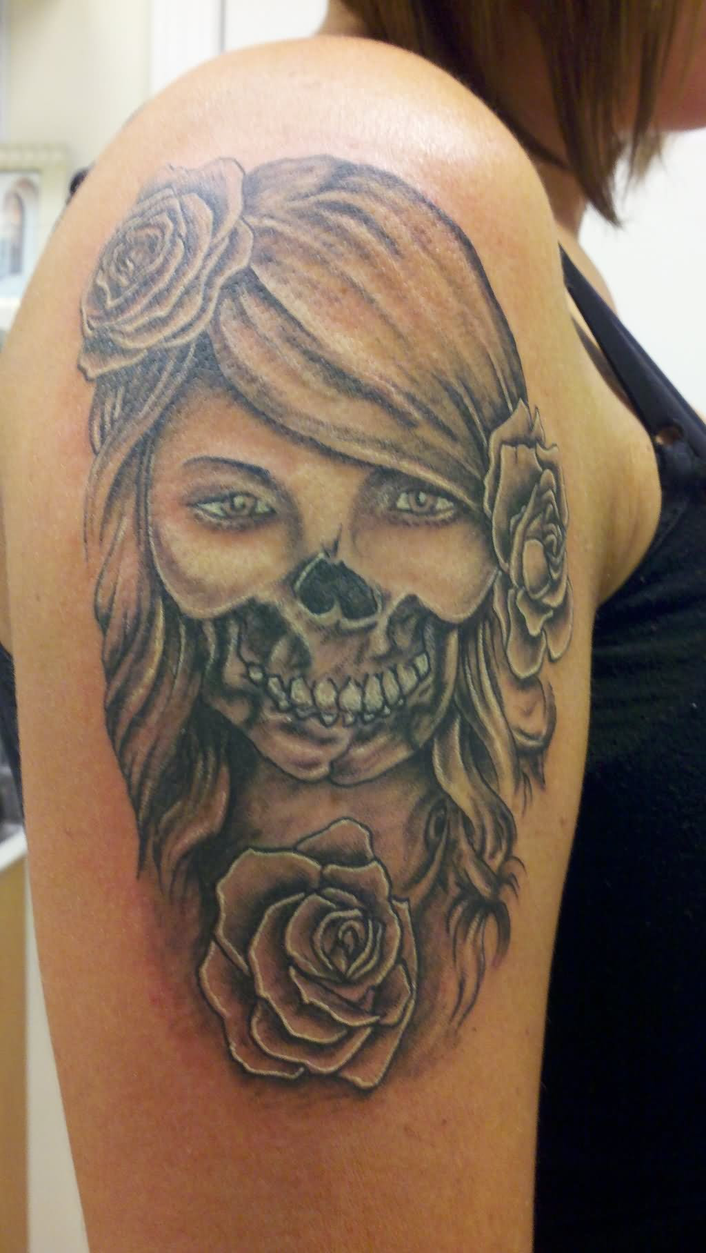 Day Of The Dead Skull Face Tattoo For Women