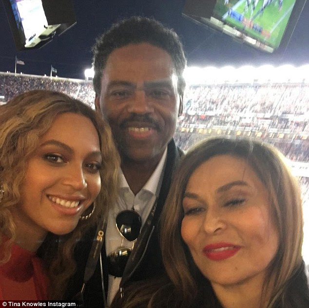 Proud mom: Beyonce's mother Tina Knowles shared a selfie with her daughter and husband Richard Lawson at the Super Bowl on Sunday