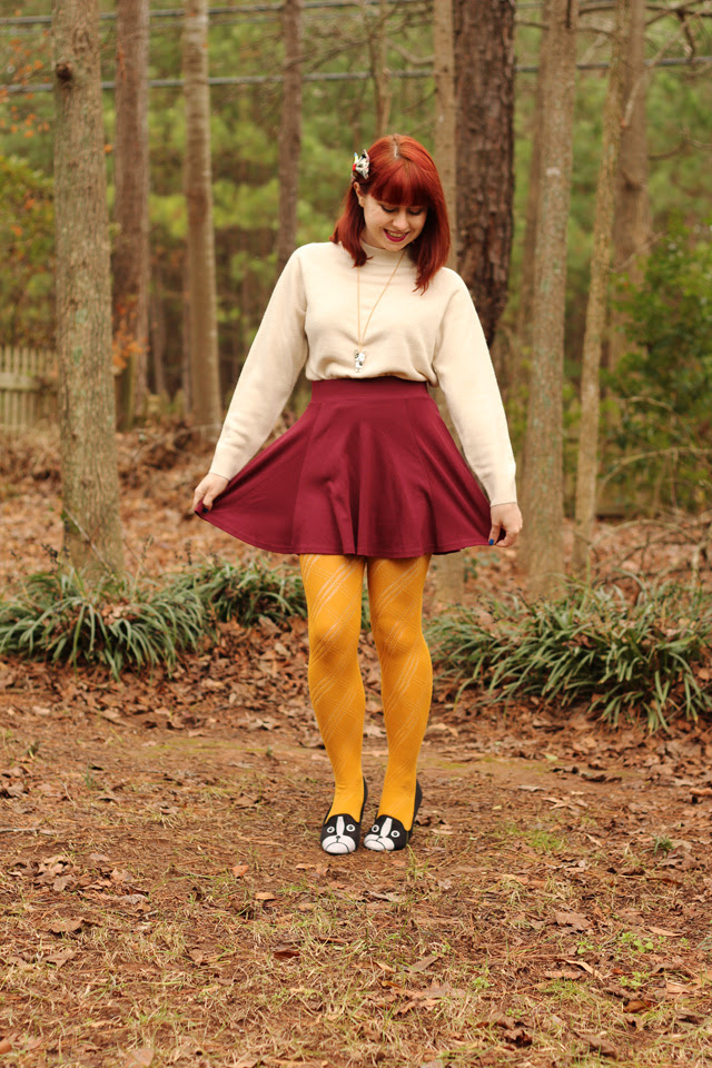 Mock Turtleneck Sweater, Skater Skirt, Yellow Tights, & Boston Terrier Flats