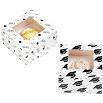 Juvale Cupcake Boxes - Graduation Themed Individual Cupcake Containers with Window and Inserts, Glossy Bakery Box, 2 Designs, 5 x 3 x 5 Inches
