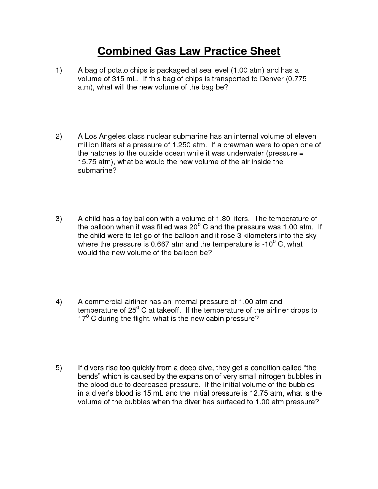 13 Best Images of Combined Gas Law Worksheet Answers  Ideal Gas Law Worksheet Answer Key