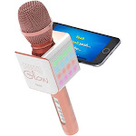 Tzumi 5043 PopSolo Glow Bluetooth Karaoke Microphone with Dancing LED Effects - Rose Gold