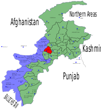 Location of Charsadda District (highlighted in red) within the North West Frontier Province of Pakistan, created using Inkscape.