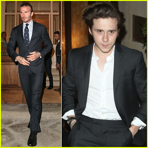 David Beckham & Son Brooklyn Suit Up for Dinner Event in London
