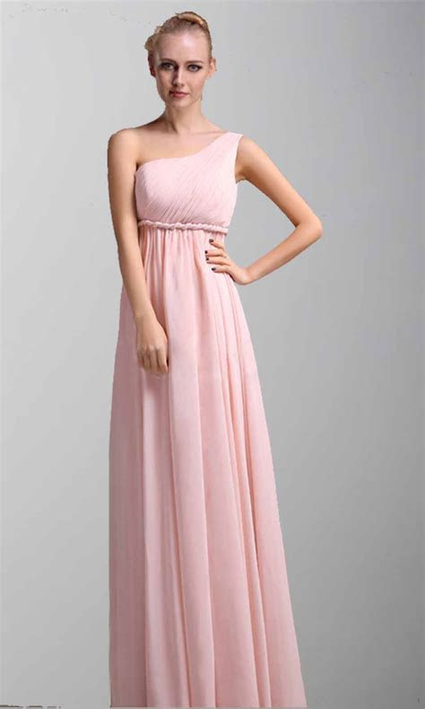 One Shoulder Braided Belt Long Bridesmaid Dress Pregnant