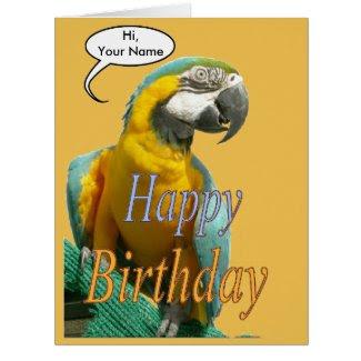 Funny Talking Parrot Birthday Cust. Greeting Card
