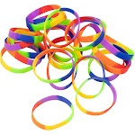 Juvale 8 inch Silicone Bracelet - 24-Pack Blank Adult Rubber Wristbands, Rainbow Bracelets for Sports Teams, Games, Kids Play, Party Favors, 8 Inches