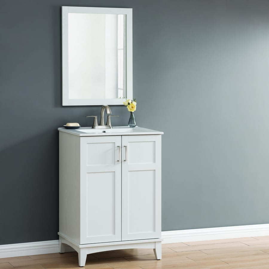 Style Selections 24 In White Oak Single Sink Bathroom Vanity With White Ceramic Top Mirror Included In The Bathroom Vanities With Tops Department At Lowes Com