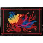 "Colorful Phoenix Hook Rug, 36"" L x 24"" W x .25"" H"