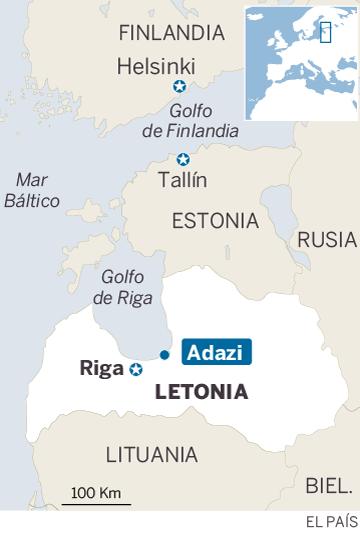 Mapa de localización de Adazi, Letonia