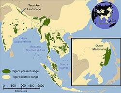 Taburan harimau bersejarah (kuning tua) dan 2006 (hijau).[2]
