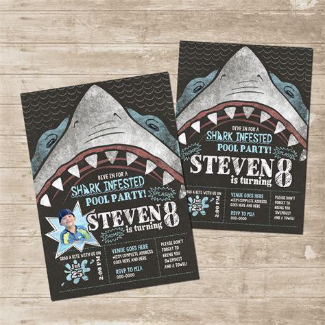 Shark Party Invitation Chomp Skark Attack Birthday Card