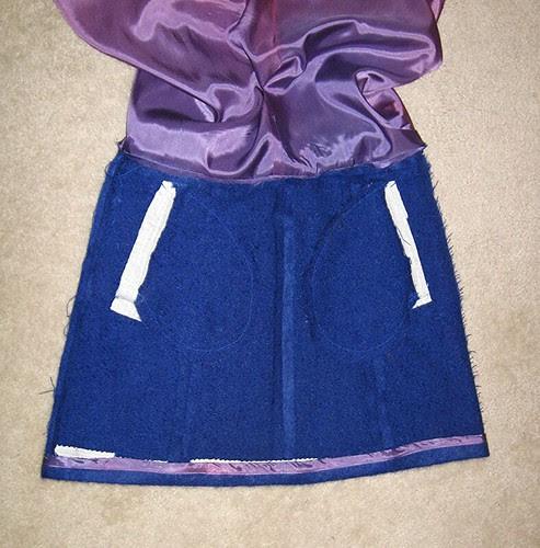 Skirt from coat inside the pockets