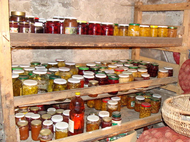 Storing pickles in cool cellar