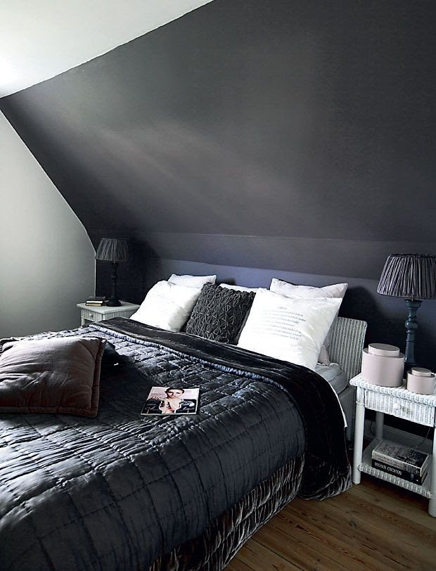 Charcoal attic bedroom!