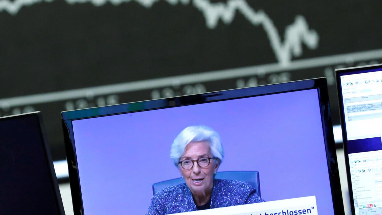 Chủ tịch Ngân Hàng Trung Ương Châu Âu Christine Lagarde. Ảnh chụp trên màn hình, tại thị trường chứng khoán Frankfurt, Đức, ngày 12/03/2020