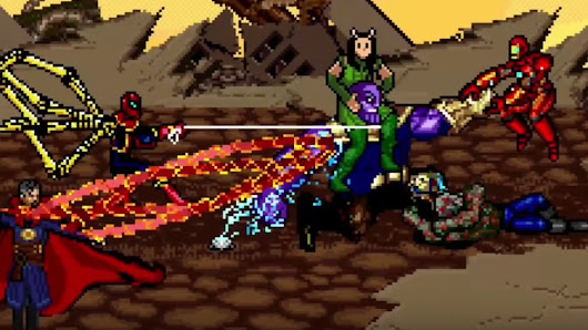 The Epic Thanos Vs. Avengers Titan Fight Scene From INFINITY WAR Recreated in 16-Bit