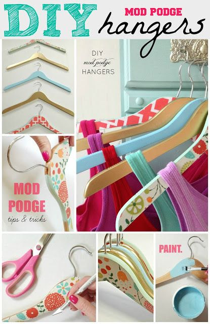 DIY Mod Podge Hangers. I now have both beech and white hangers for my shop, and I love the idea of covering the beech ones in papers that match my business colours. Such a cute idea!