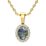 1 Carat Oval Shape Mystic Topaz & Halo Diamond Necklace in Yellow Gold w/ 18 inch Chain, by SuperJeweler