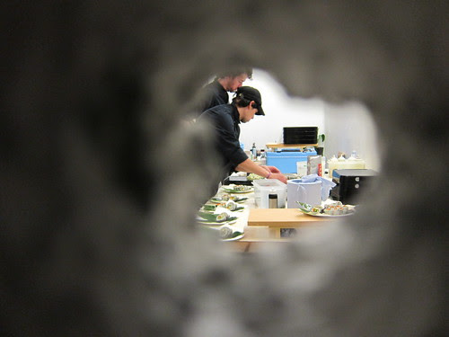 Through the wall, the chefs