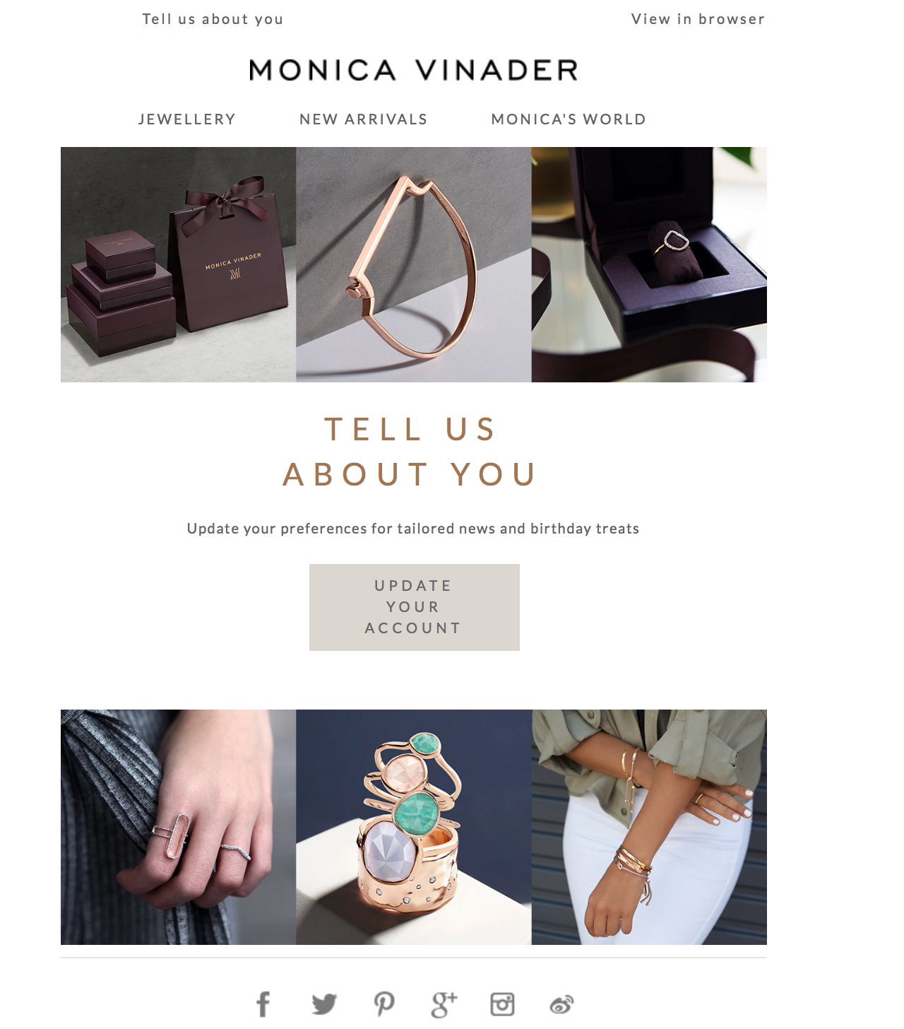 Monica Vinader automated email