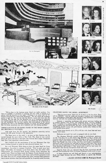 Página de la revista 'Womens Wear Daily' en la que se comenta la transparencia del edificio Watergate en 1969.