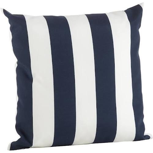 Saro Lifestyle Classic Wide Stripe Poly Filled Throw Pillow, Blue