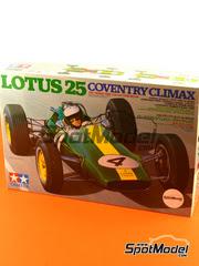 Tamiya: Maqueta de coche escala 1/20 - Lotus 25 Coventry Climax Nº 1, 4, 18, 23 - Jim Clark - Campeonato del Mundo 1962, 1963 - maqueta de plástico