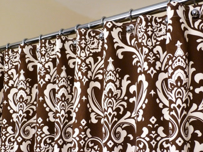 Brown Shower Curtain in OffWhite and Brown Damask by LaRicaHome