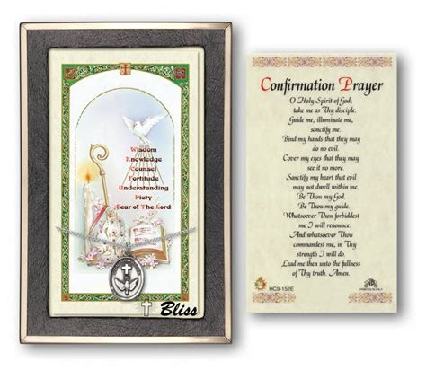 Confirmation Prayer Cards with Sterling Silver Medal Pendant