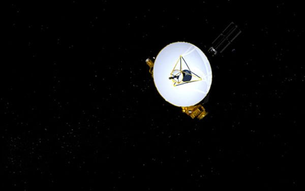 An artist's concept of NASA's New Horizons spacecraft soaring through deep space.