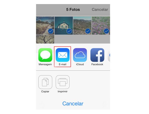 Compartilhando simultaneamente cinco fotos por e-mail no iOS 7 (Foto: Reprodução/Marvin Costa)