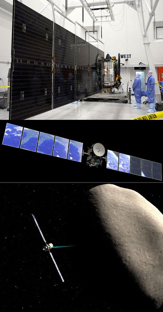IMAGE 1: Technicians check on one of Dawn's two solar array wings at the Astrotech facility in Florida.  IMAGE 2: An artist's concept showing Earth's reflection glistening off of Dawn's solar arrays as the spacecraft leaves Earth.  IMAGE 3: An artist's concept of Dawn entering orbit around asteroid Vesta.