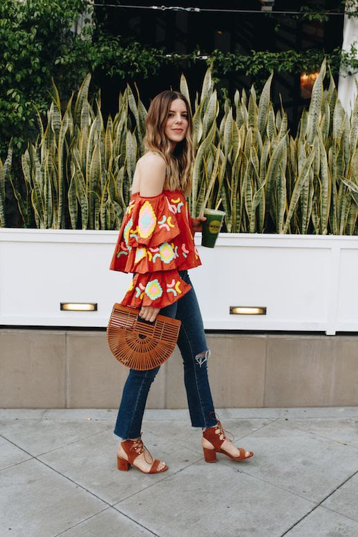 Le Fashion Blog Patterned Off The Shoulder Blouse Dark Raw Hem Denim Brown Caged Tote Suede Block Heel Sandal Via Take Aim