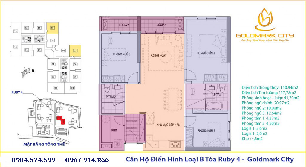 Thiết kế căn hộ 104 Goldmark City
