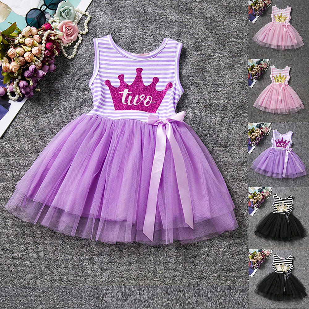 crown toddler baby girl striped tulle dress princess
