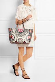 Printed leather tote