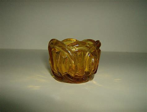 Amber Pressed Glass Votive Candle Holder ~ Wedding Ring