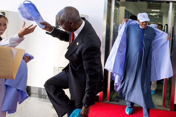 PMB and Power, Works & Housing Min Tunde Fashola today at the China Aerospace Science Technology Corporation Centre