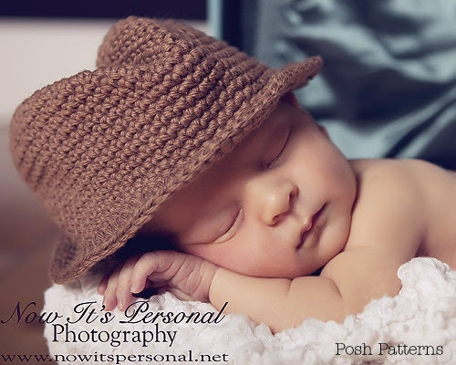 Crochet PATTERN Baby Fedora Little Man Hat Cowboy Hat PDF 204 - Newborn to Adult - Permission To Sell Finished Items - Photography Prop